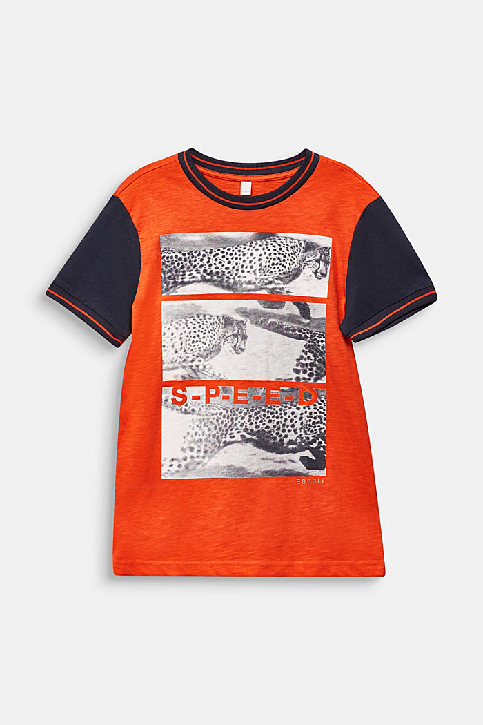 T-shirt con stampa fotografica, 100% cotone, TANGERINE, detail image number 0