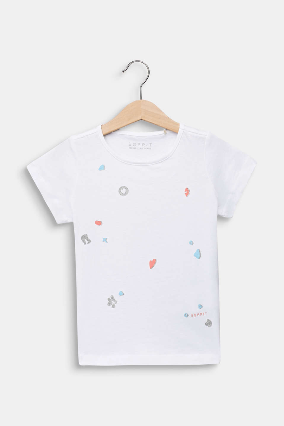 Glitter print T-shirt, 100% cotton, WHITE, detail image number 0