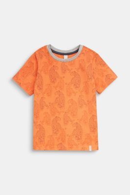 T-shirt with a leopard skin print, SUNNY ORANGE, detail
