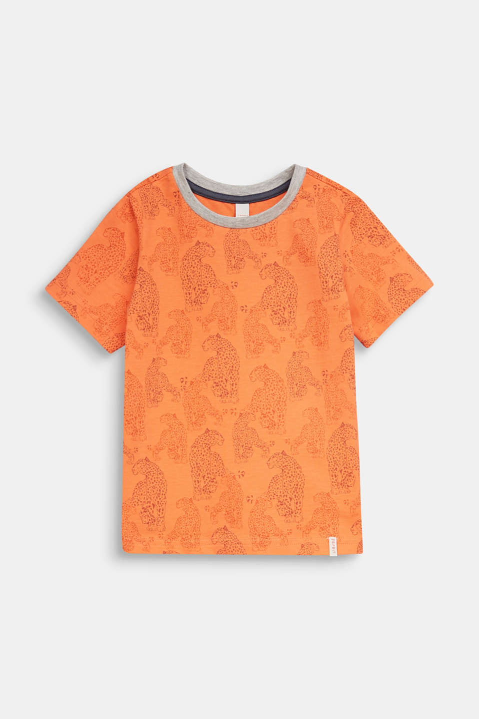 T-shirt with a leopard skin print, SUNNY ORANGE, detail image number 0