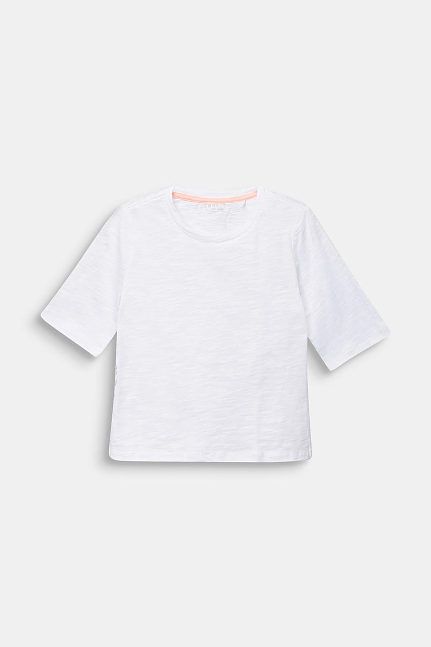 T-shirt with side slits, 100% cotton