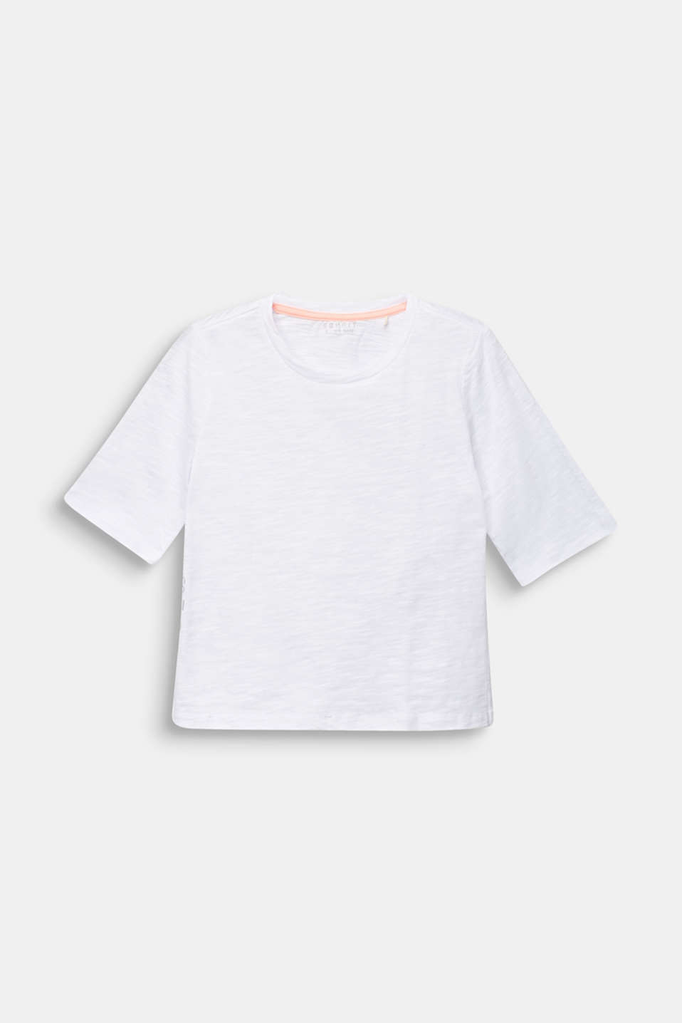 T-shirt with side slits, 100% cotton, LCWHITE, detail image number 0