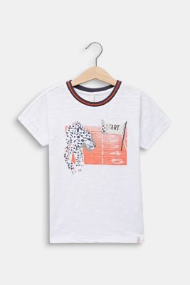 Print T-shirt with appliqué, 100% cotton, WHITE, detail