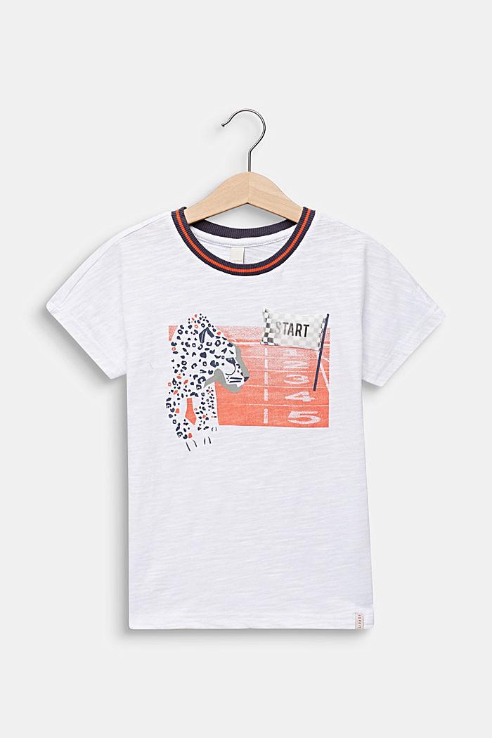 Print T-shirt with appliqué, 100% cotton