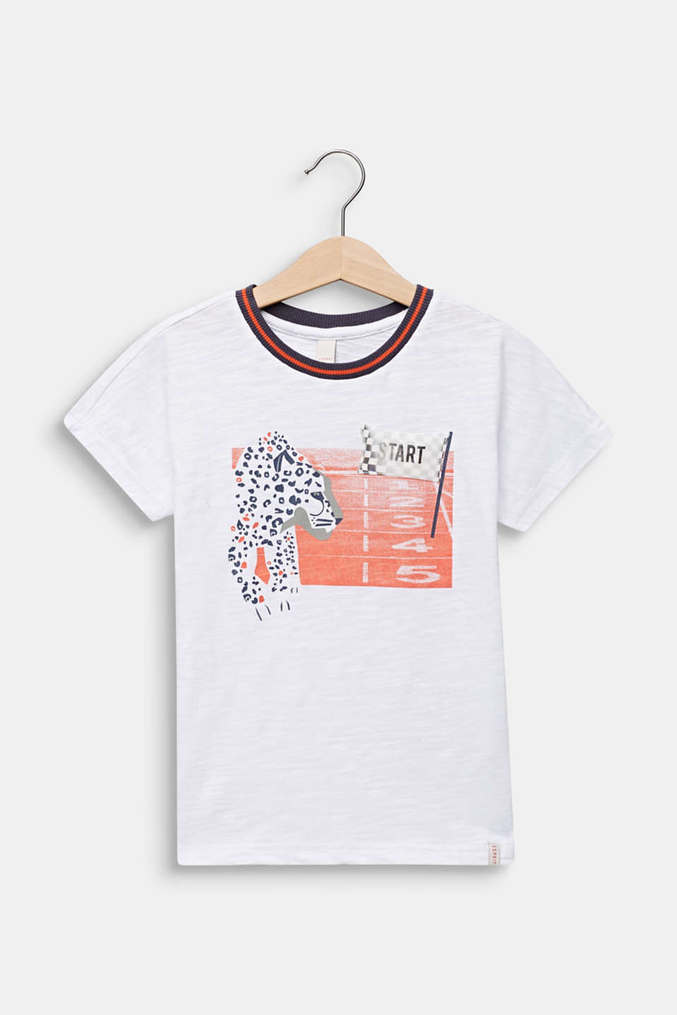 Print T-shirt with appliqué, 100% cotton, WHITE, detail image number 0