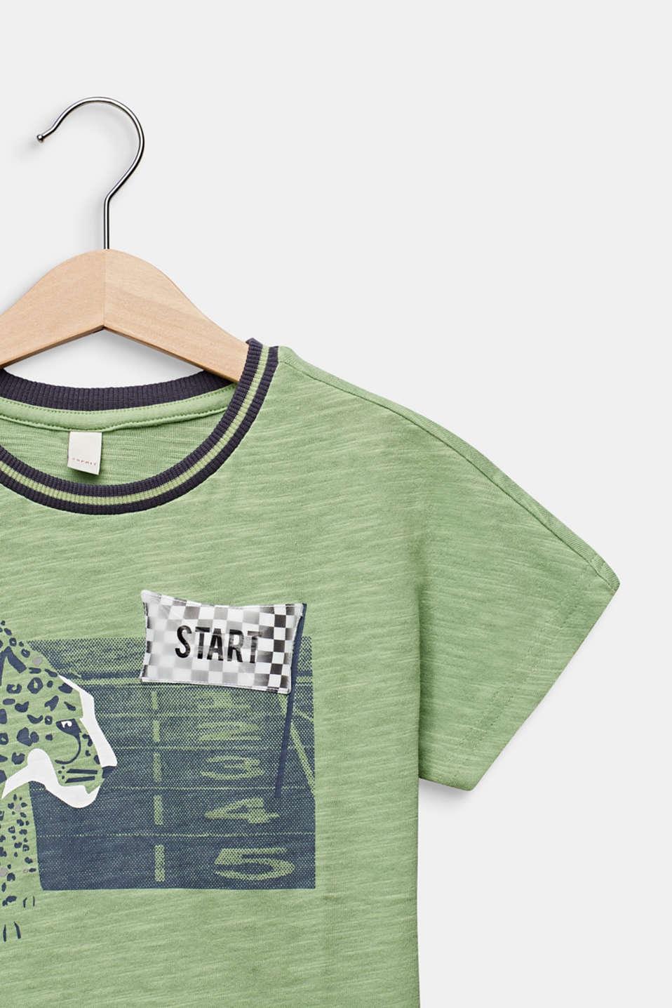 Print T-shirt with appliqué, 100% cotton, PASTEL GREEN, detail image number 2