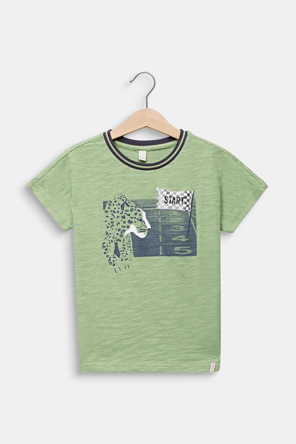 Print T-shirt with appliqué, 100% cotton, PASTEL GREEN, detail image number 0