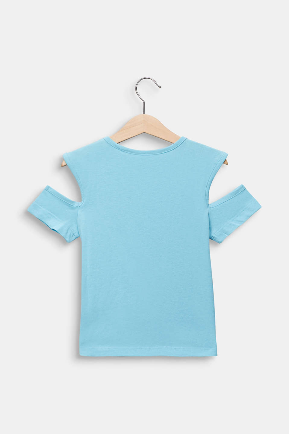Cut-out T-shirt with glitter print, LIGHT AQUA, detail image number 1