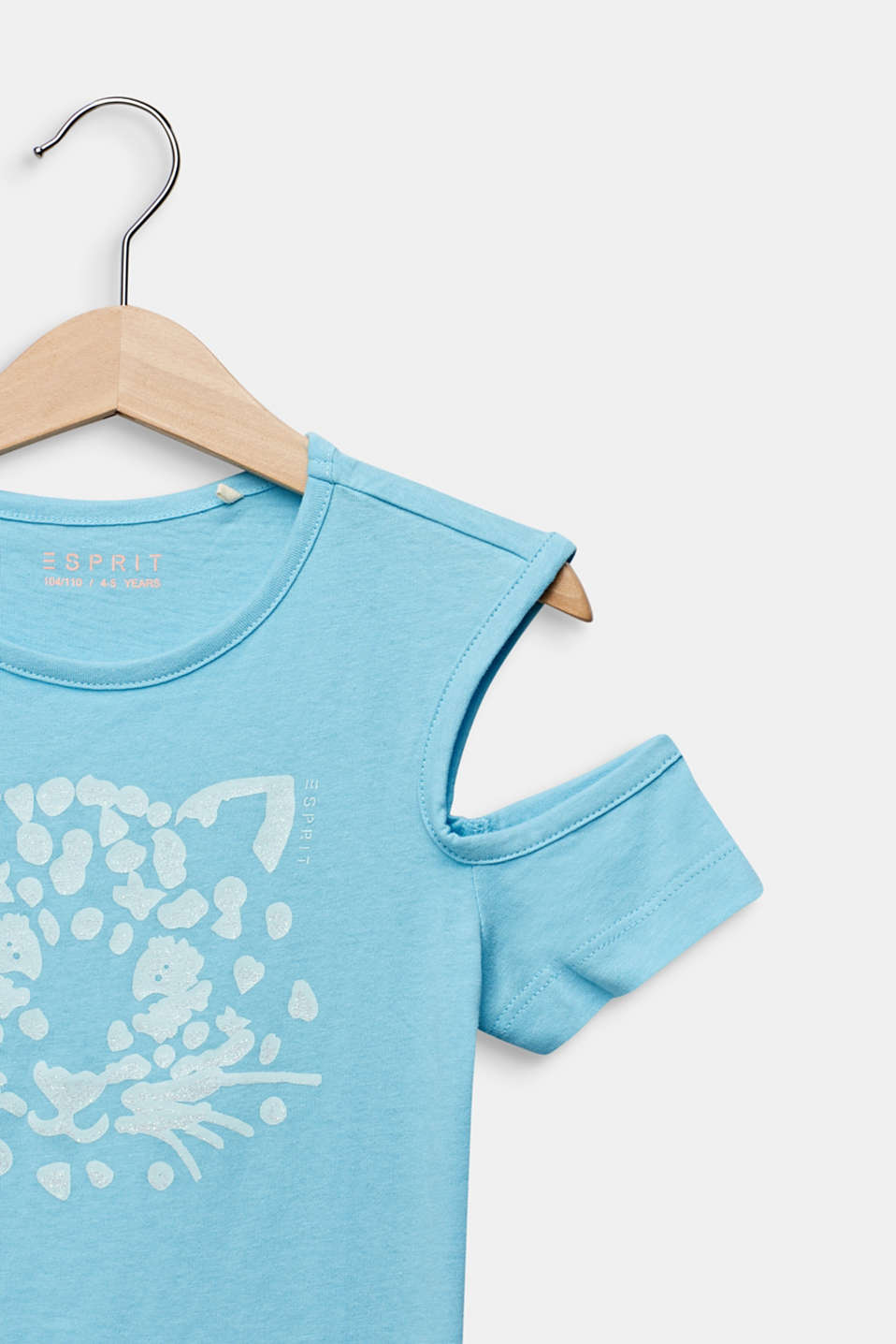 Cut-out T-shirt with glitter print, LIGHT AQUA, detail image number 2