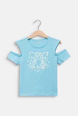 Cut-out T-shirt with glitter print, LIGHT AQUA, detail
