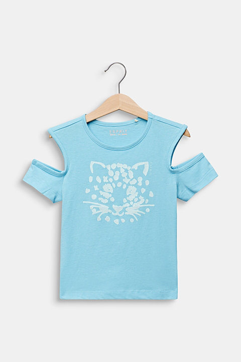 Cut-out T-shirt with glitter print
