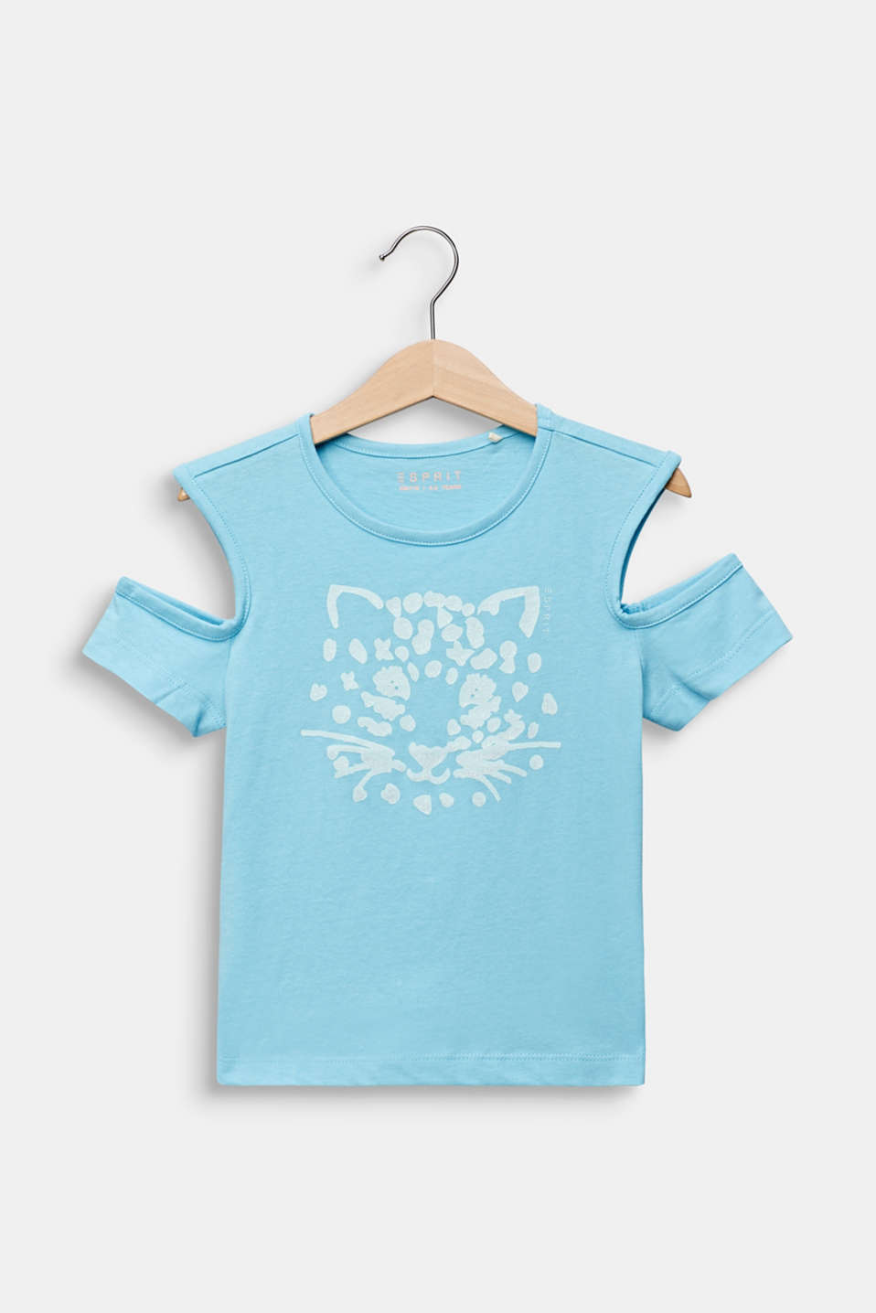 Esprit - T-shirt met cut out en glinsterende print