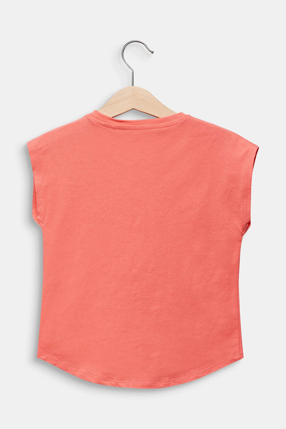 T-shirt with sequins, 100% cotton, CORAL, detail image number 1
