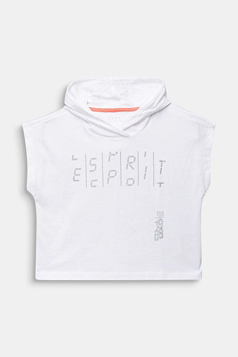 Boxy, hooded T-shirt with a print, 100% cotton