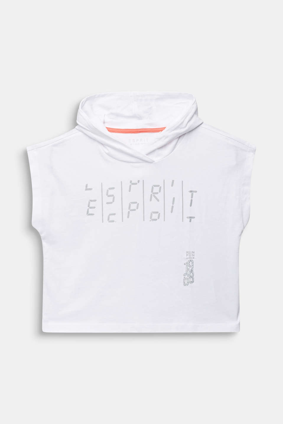 Esprit - Boxy, hooded T-shirt with a print, 100% cotton