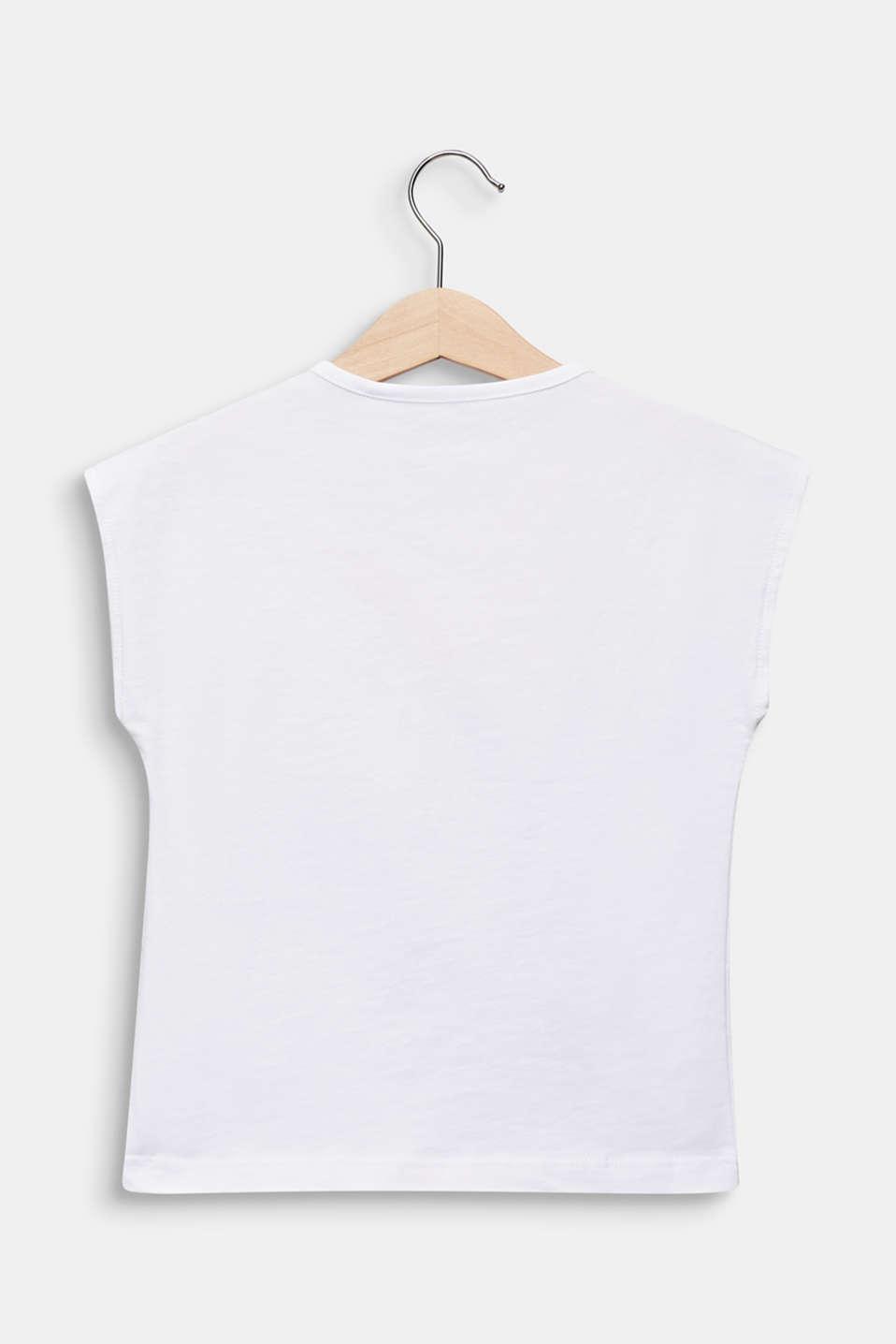 Logo tape T-shirt, 100% cotton, WHITE, detail image number 1
