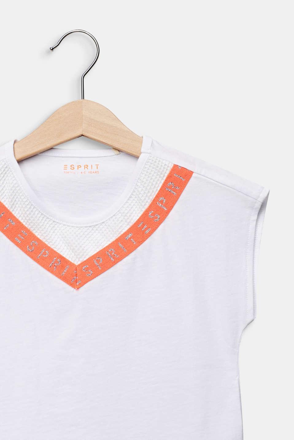 Logo tape T-shirt, 100% cotton, WHITE, detail image number 2