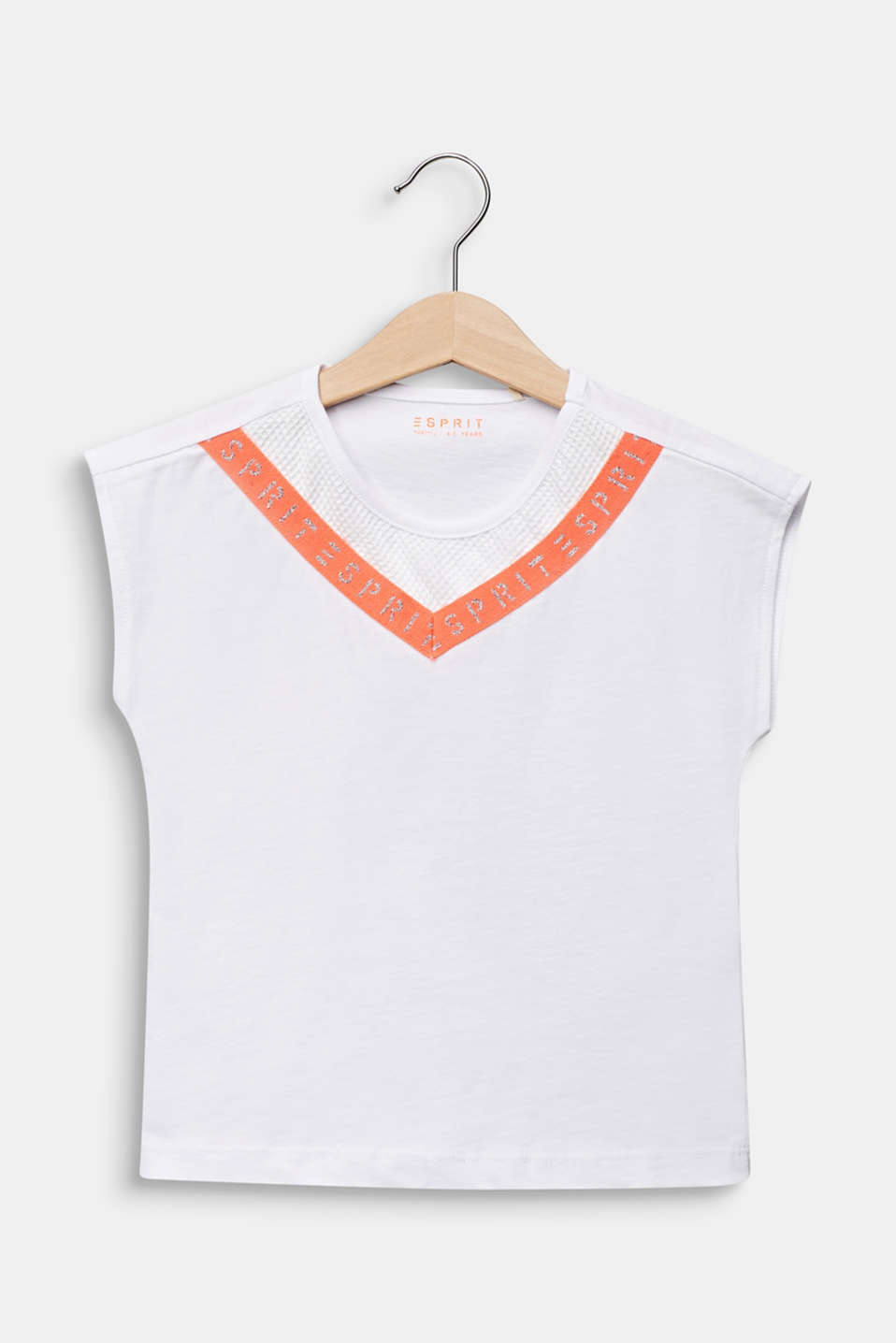 Logo tape T-shirt, 100% cotton, WHITE, detail image number 0