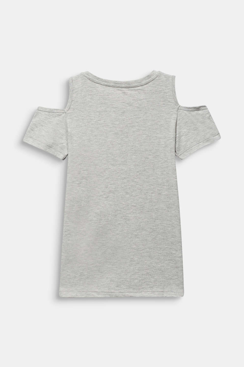 Cut-out T-shirt with sequins, made of cotton, LCHEATHER SILVER, detail image number 1