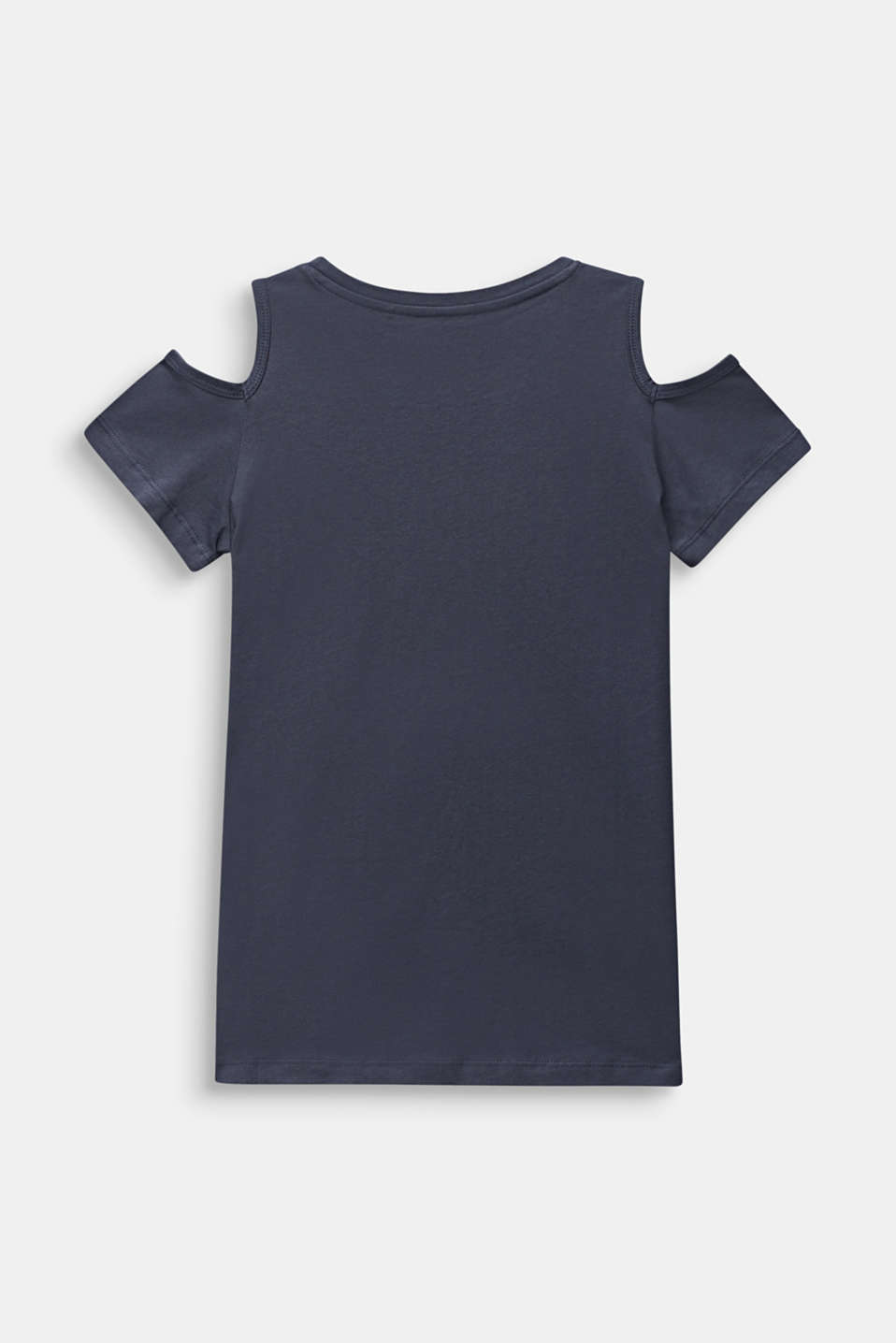 Cut-out T-shirt with sequins, made of cotton, LCANTHRACITE, detail image number 1