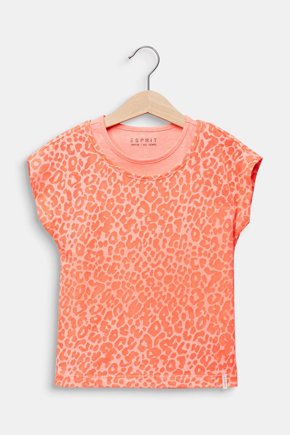 2-in-1 NEON T-shirt with leopard print, NEON CORAL, detail image number 0