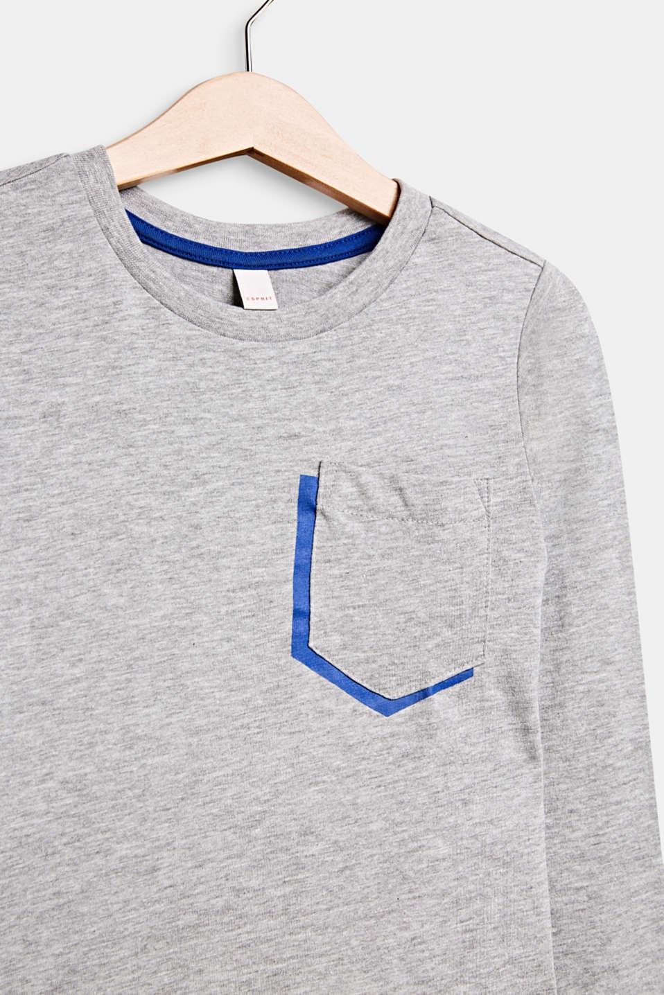 Melange long sleeve top with a pocket, MID HEATHER GR, detail image number 2