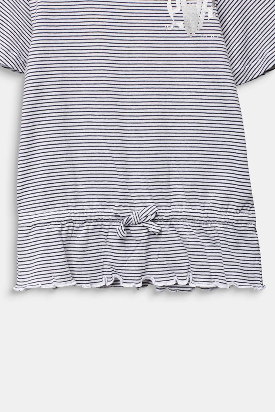 Striped T-shirt with a peplum, ANTHRACITE, detail image number 3