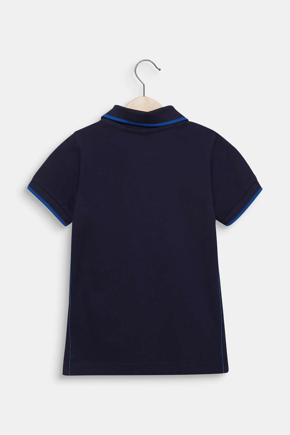 Piqué polo shirt with contrasts, 100% cotton, MIDNIGHT BLUE, detail image number 1