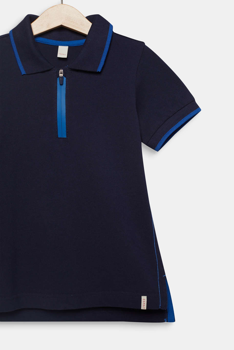 Piqué polo shirt with contrasts, 100% cotton, MIDNIGHT BLUE, detail image number 2