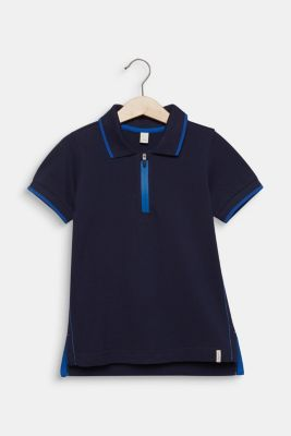 Piqué polo shirt with contrasts, 100% cotton, MIDNIGHT BLUE, detail