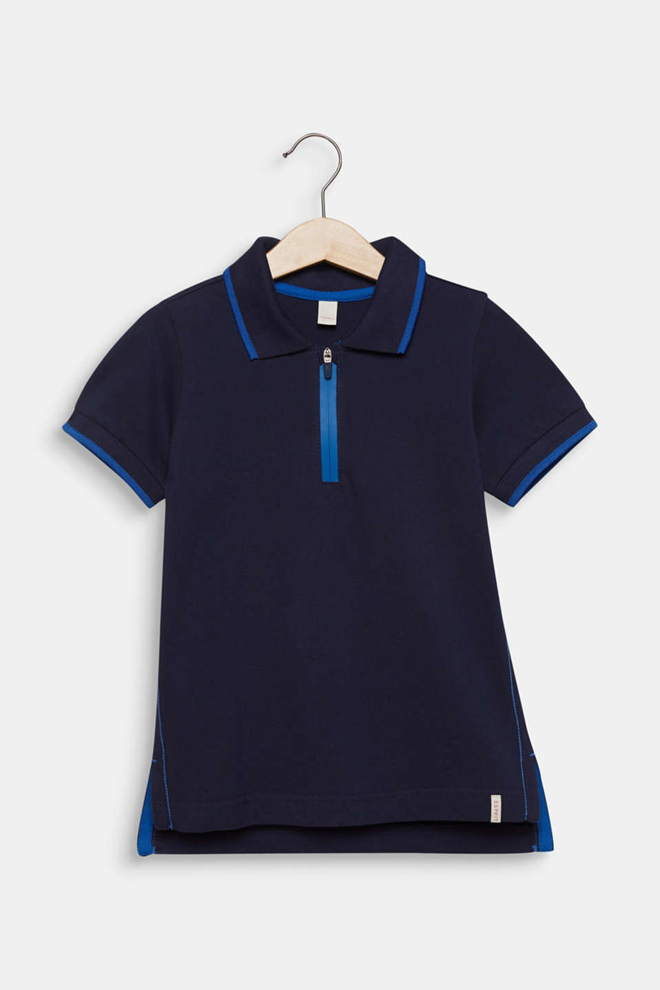 Piqué polo shirt with contrasts, 100% cotton, MIDNIGHT BLUE, detail image number 0