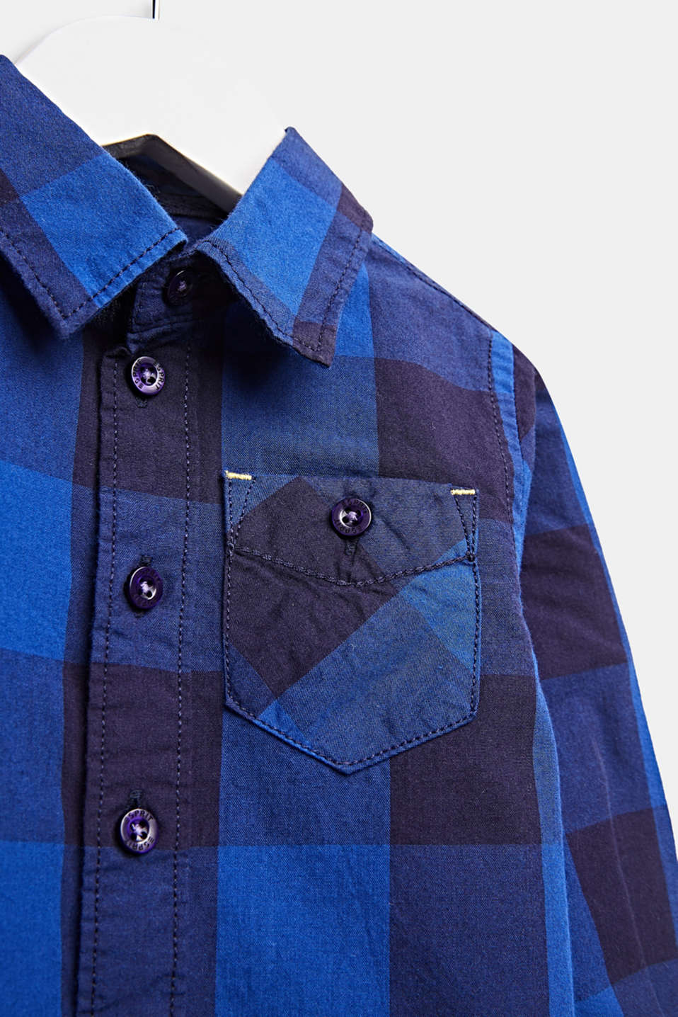 Check shirt, 100% cotton, LCINFINITY BLUE, detail image number 2