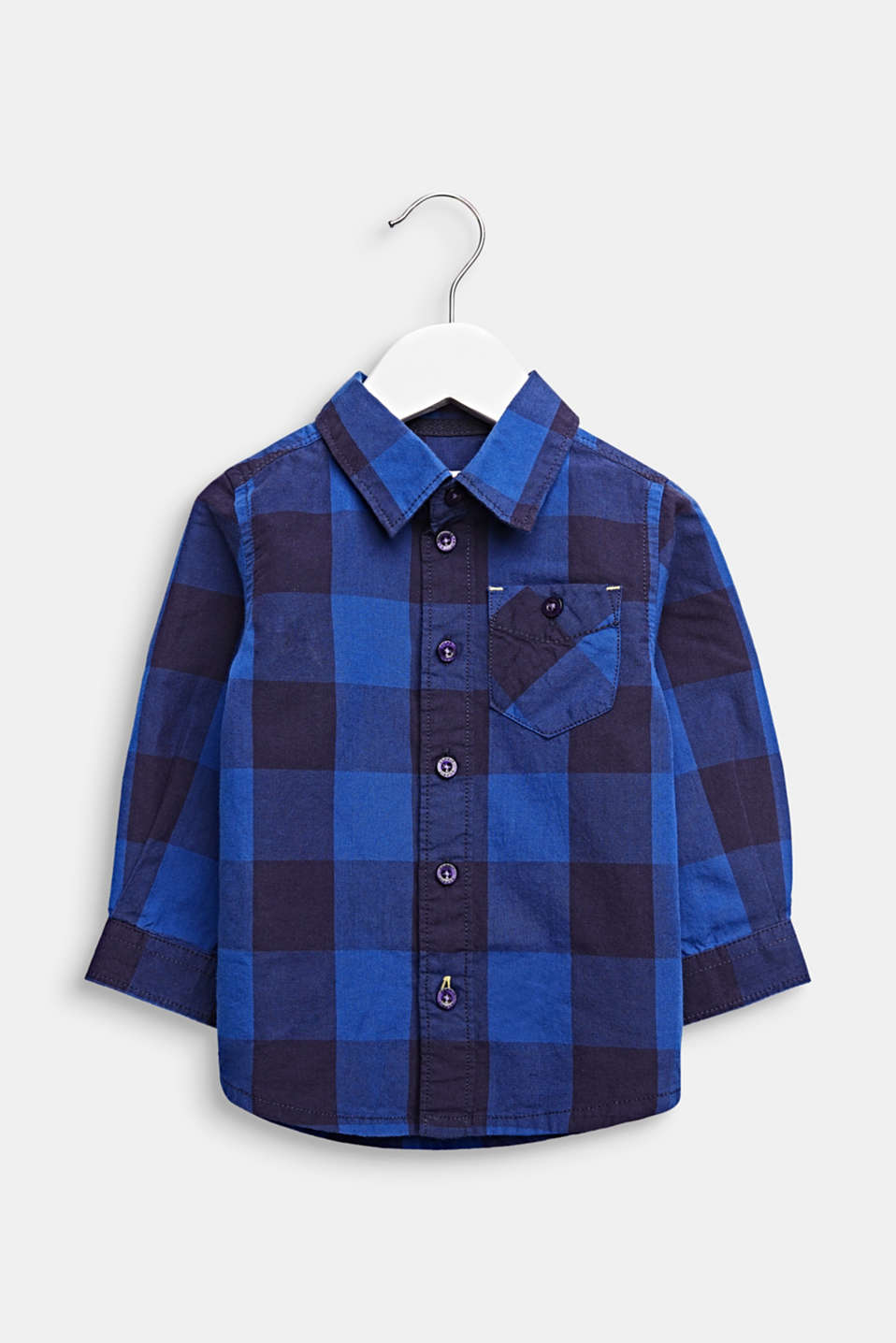 Check shirt, 100% cotton, LCINFINITY BLUE, detail image number 0