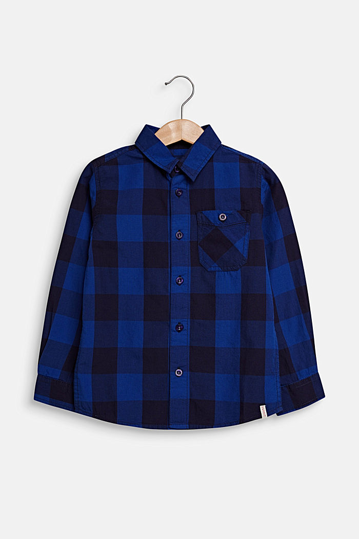 Check shirt in 100% cotton, INFINITY BLUE, detail image number 0