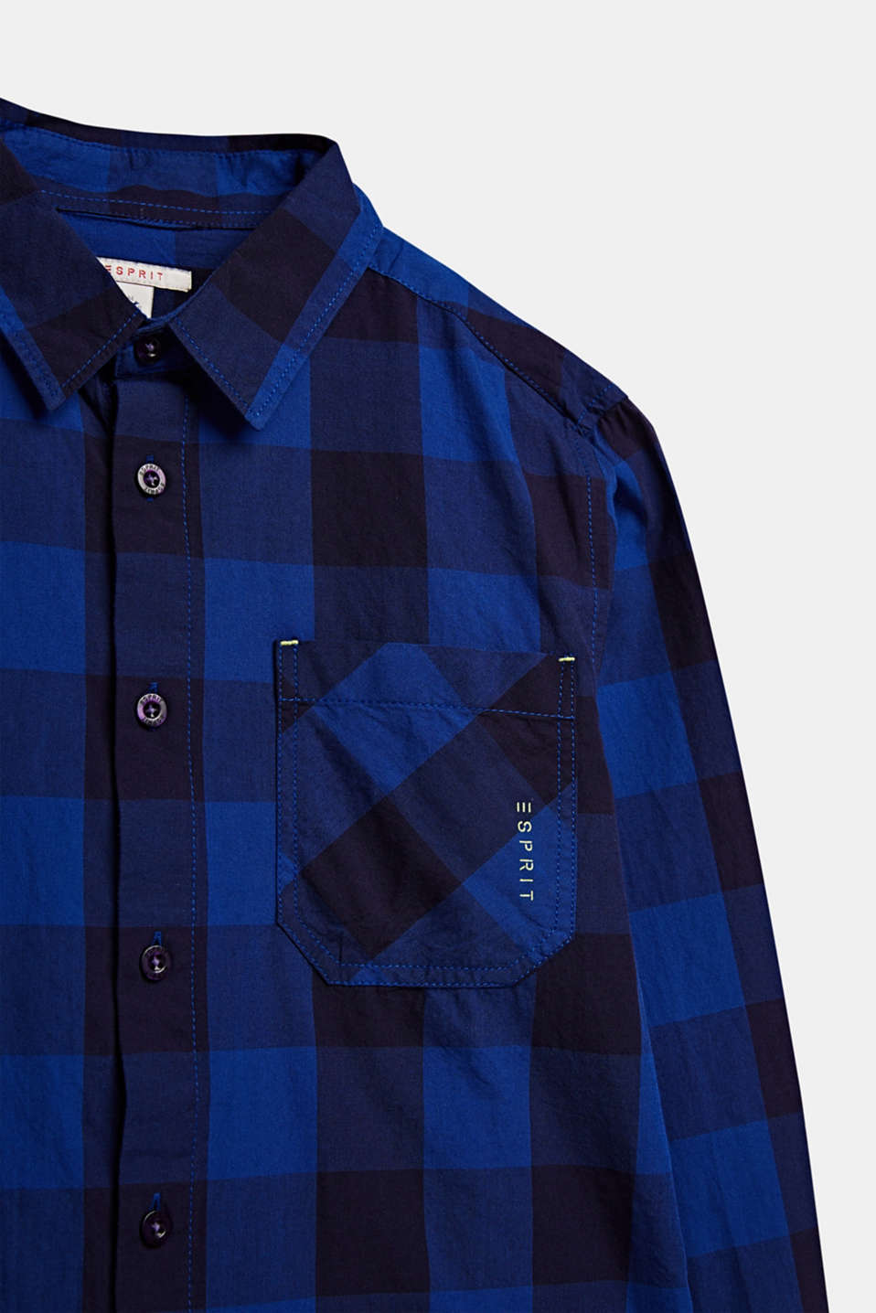 Check shirt in 100% cotton, LCINFINITY BLUE, detail image number 2