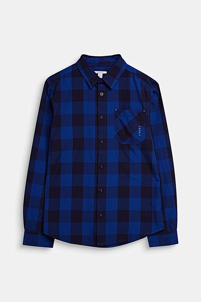 Karo-Hemd aus 100% Baumwolle, INFINITY BLUE, detail image number 0