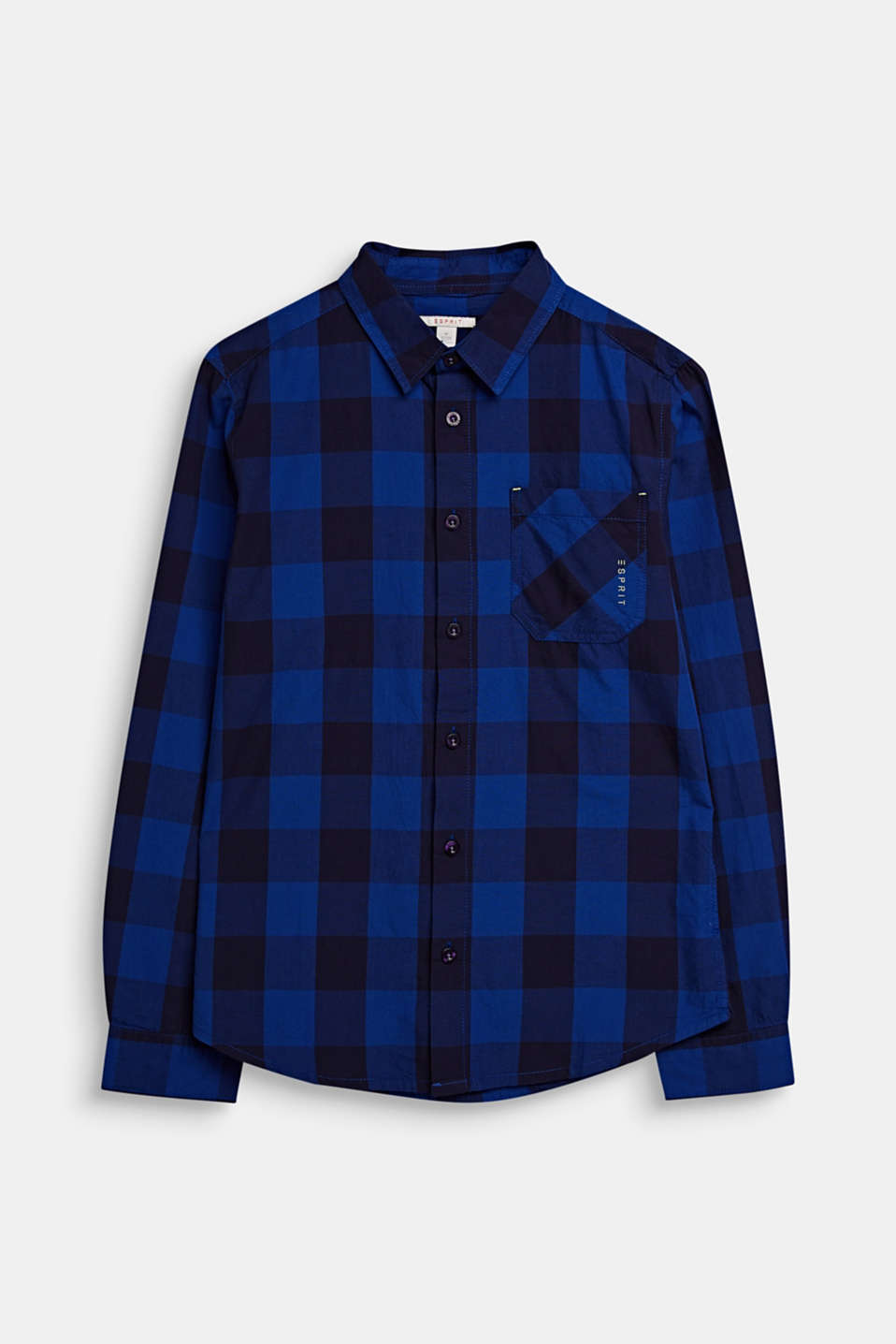 Check shirt in 100% cotton, LCINFINITY BLUE, detail image number 0