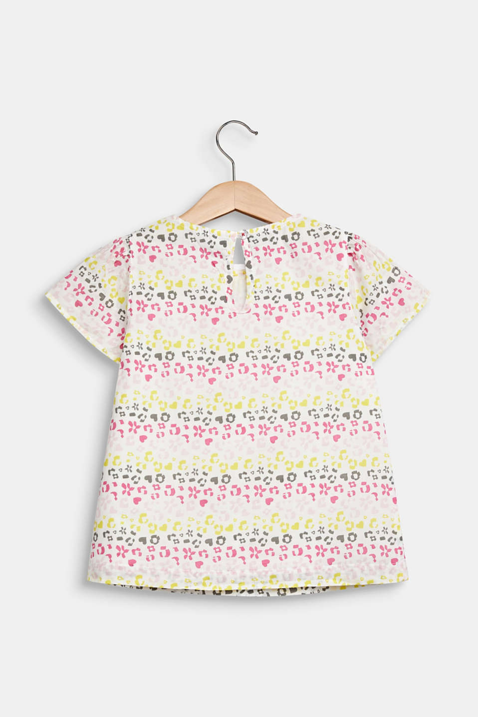 Blouse with a floral print, 100% cotton, WHITE, detail image number 1