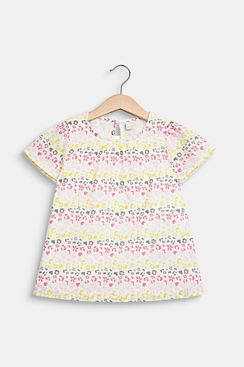 Blouse with a floral print, 100% cotton