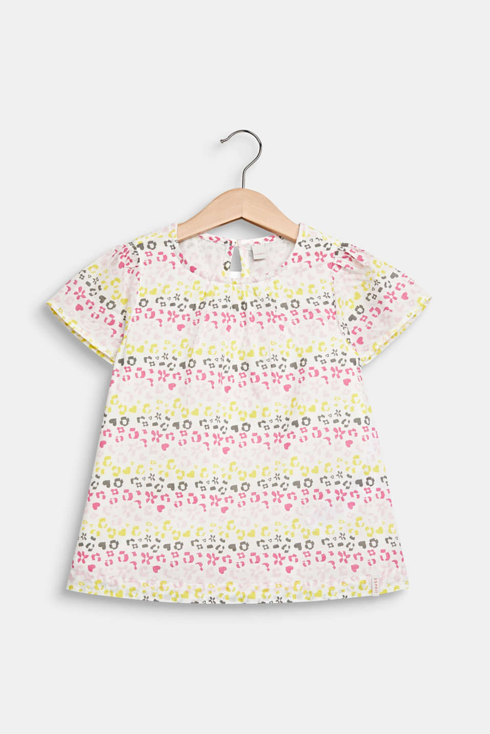 Blouse with a floral print, 100% cotton, WHITE, detail image number 0