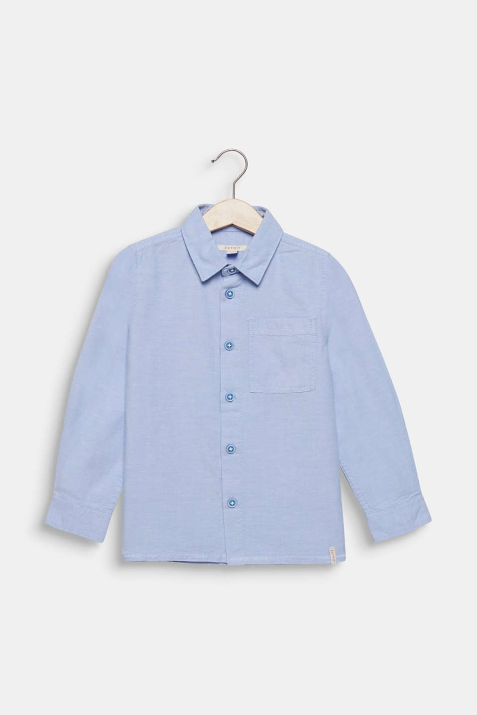 Shirt with an Oxford texture, 100% cotton, PASTEL BLUE, detail image number 0