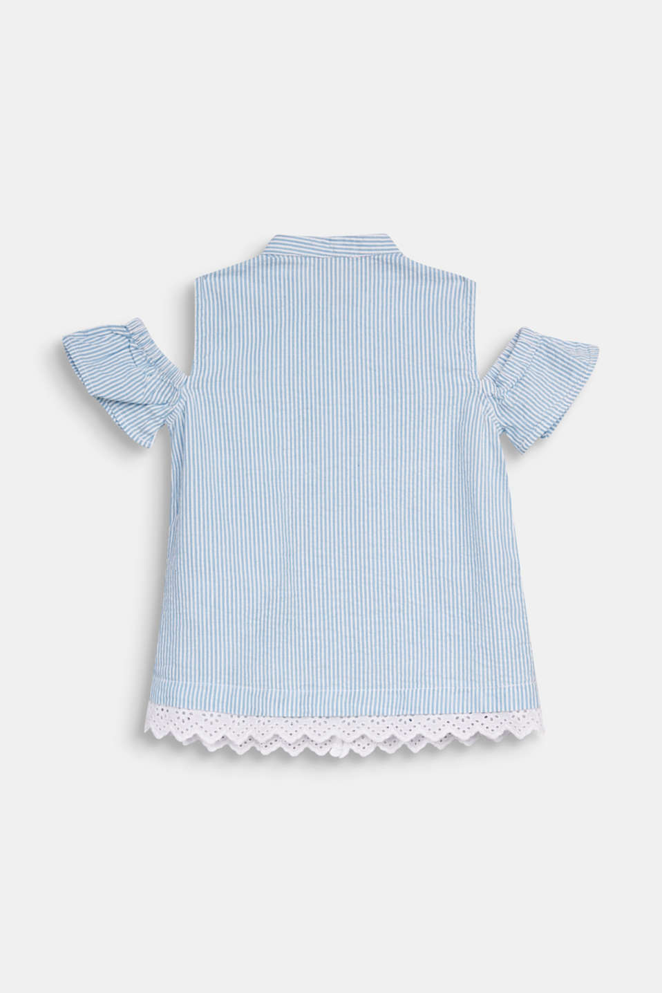 Striped blouse with cold shoulders, WHITE, detail image number 1