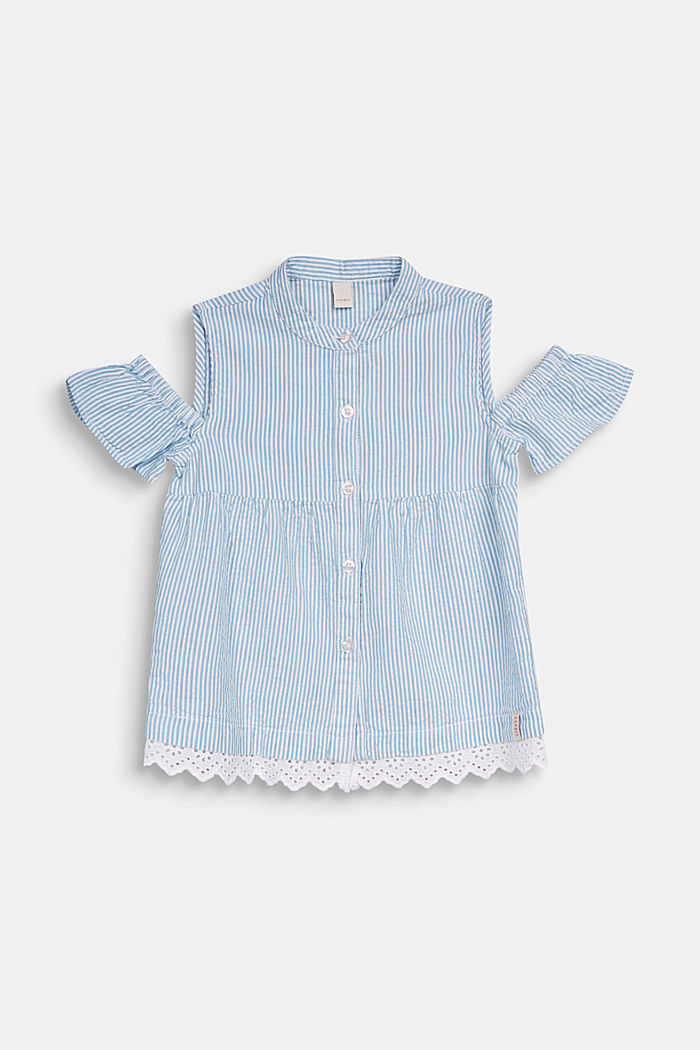 Striped blouse with cold shoulders, WHITE, detail image number 0