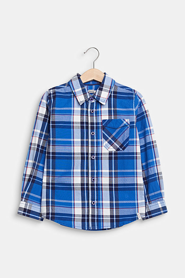 Check shirt in 100% cotton, ELECTRIC BLUE, detail image number 0