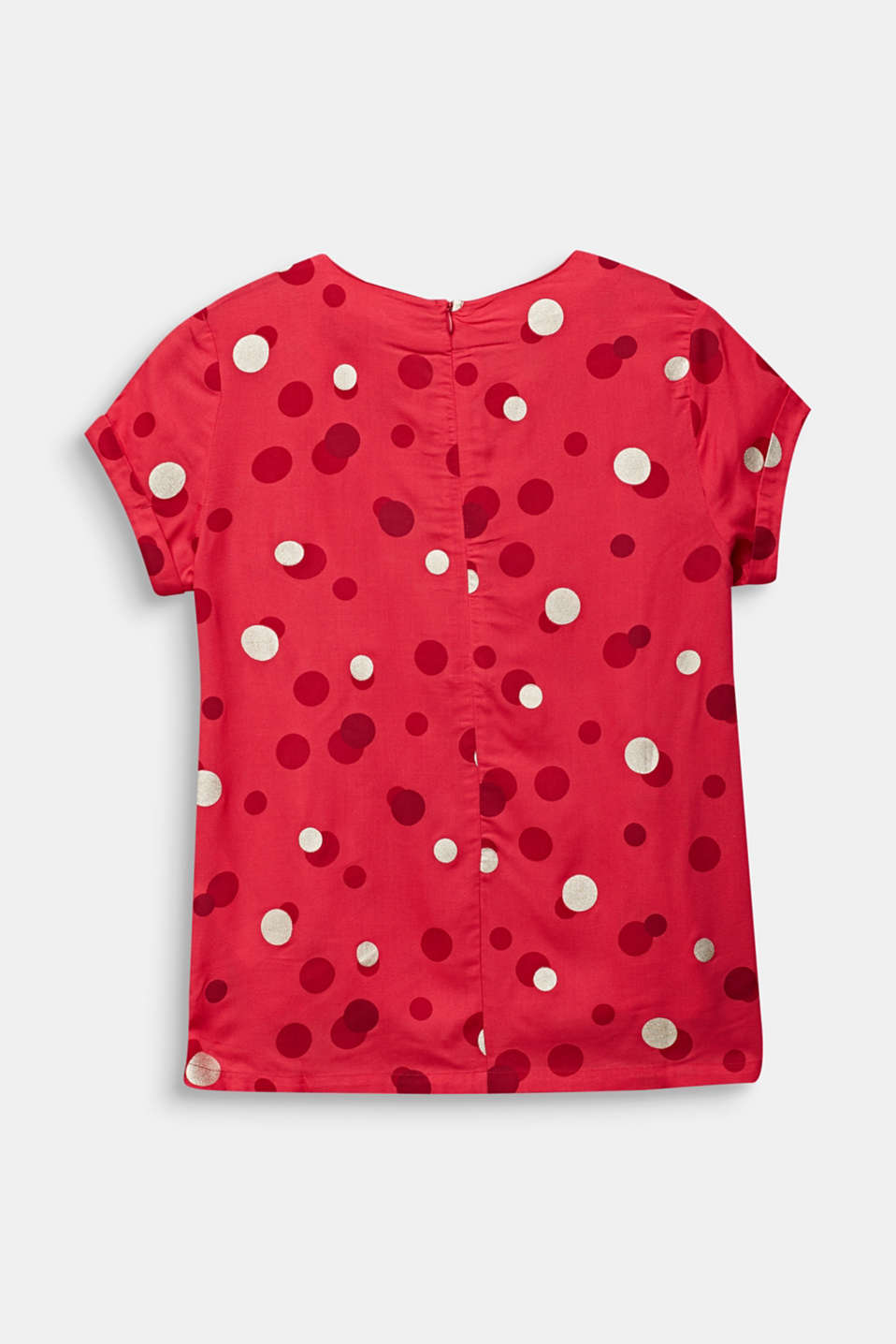 Blouse with a polka dot print, LCRASPBERRY, detail image number 1