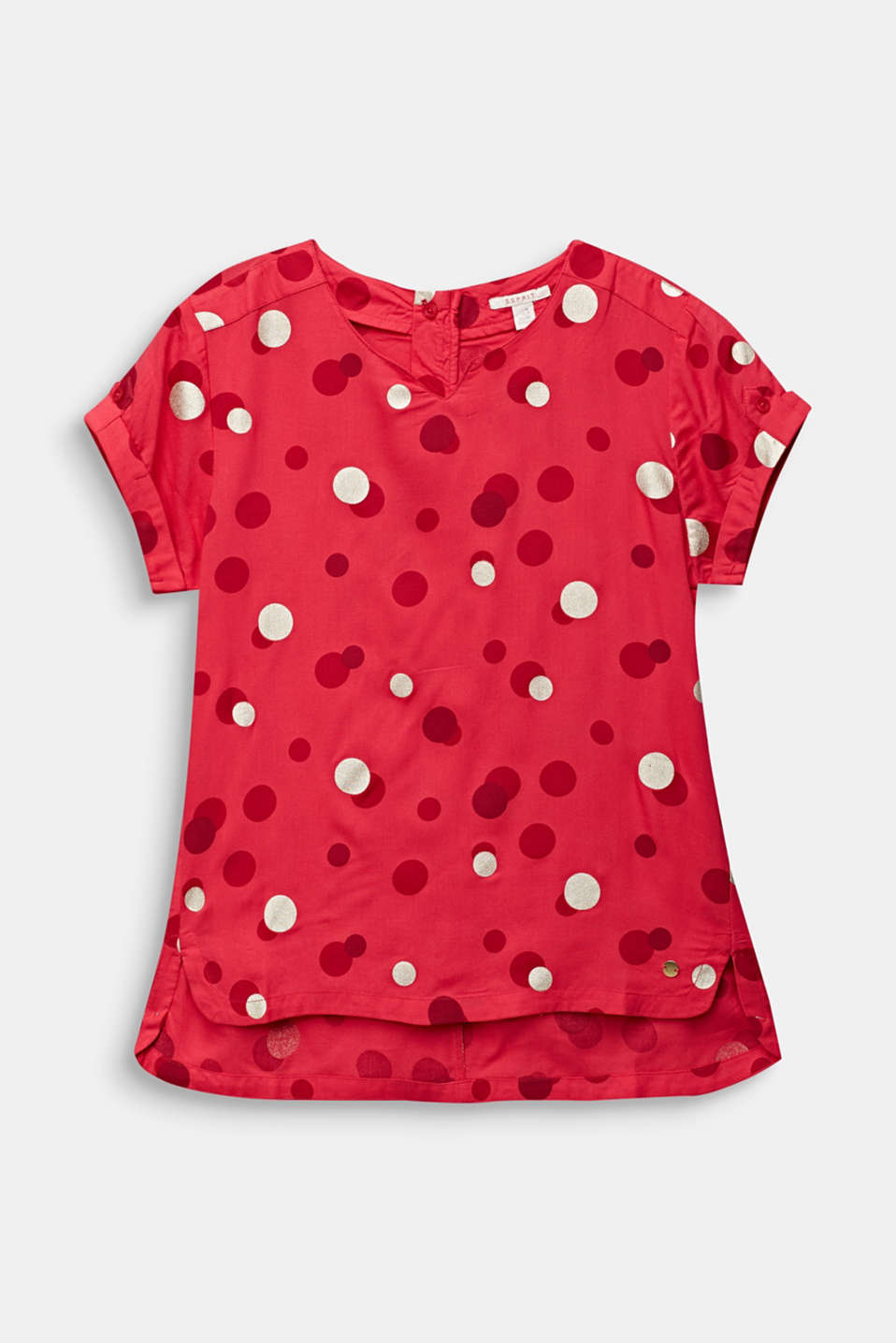 Blouse with a polka dot print, LCRASPBERRY, detail image number 0