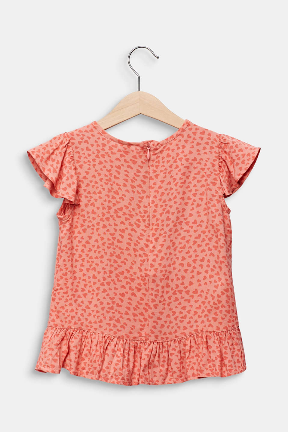 Blouse top with a multi-heart print, CORAL, detail image number 1