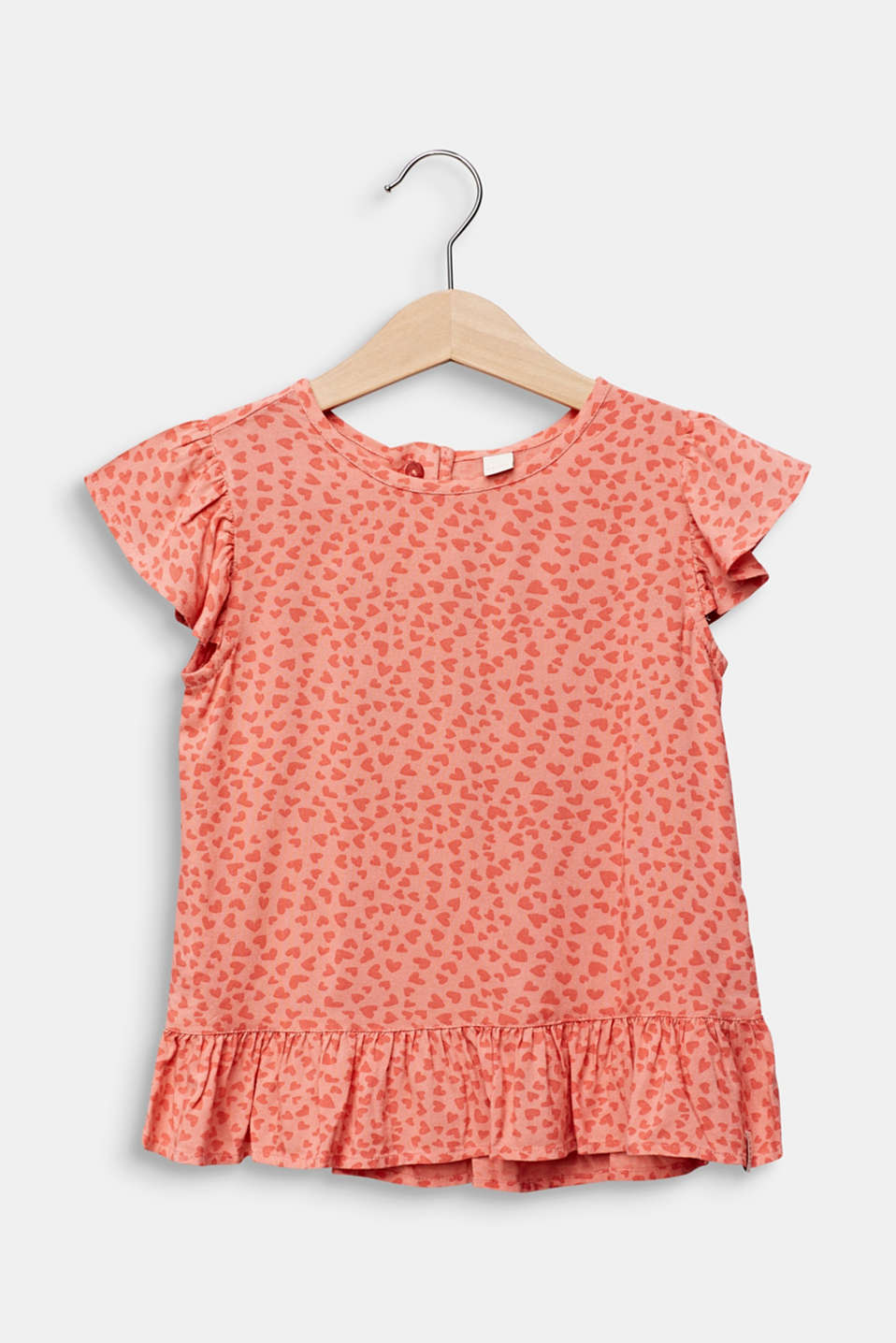 Blouse top with a multi-heart print, CORAL, detail image number 0