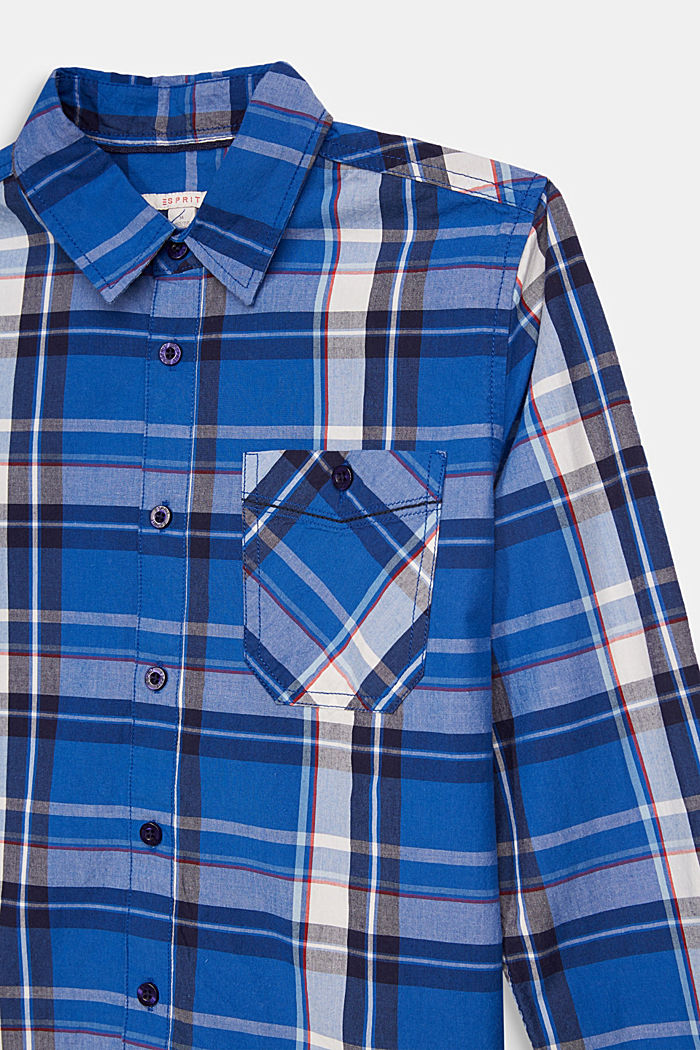 Check shirt in 100% cotton, ELECTRIC BLUE, detail image number 2
