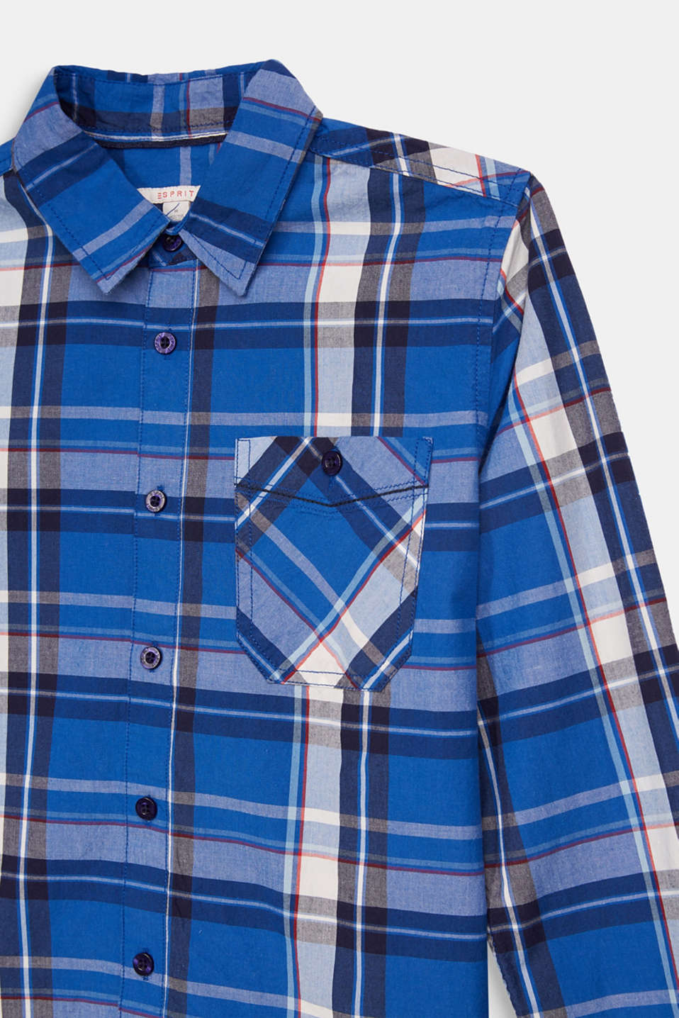 Check shirt in 100% cotton, LCELECTRIC BLUE, detail image number 2